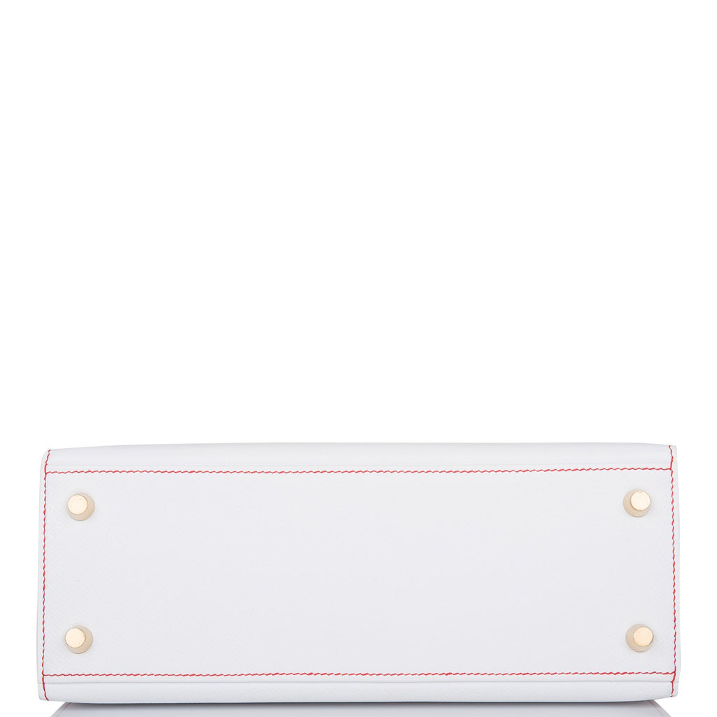 Hermes Horseshoe Stamp (HSS) Bi-Color White and Rouge de Coeur Epsom Sellier Kelly 25cm Brushed Gold Hardware