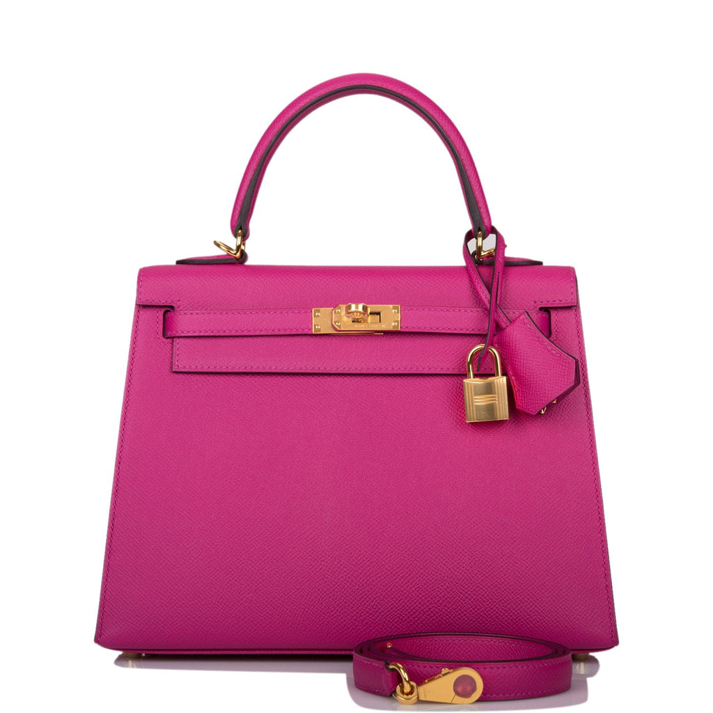 Hermes Rose Pourpre Epsom Sellier Kelly 25cm Gold Hardware