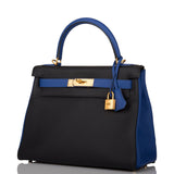 Hermes Horseshoe Stamp (HSS) Bi-Color Black and Bleu Electric Clemence Kelly 28cm Brushed Gold Hardware