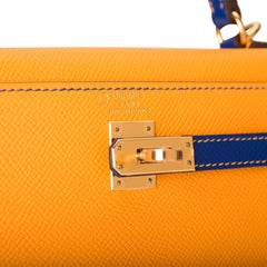 Hermes HSS Bi-Color Jaune d'Or and Bleu Electrique Epsom Sellier Kelly 25cm Brushed Gold Hardware
