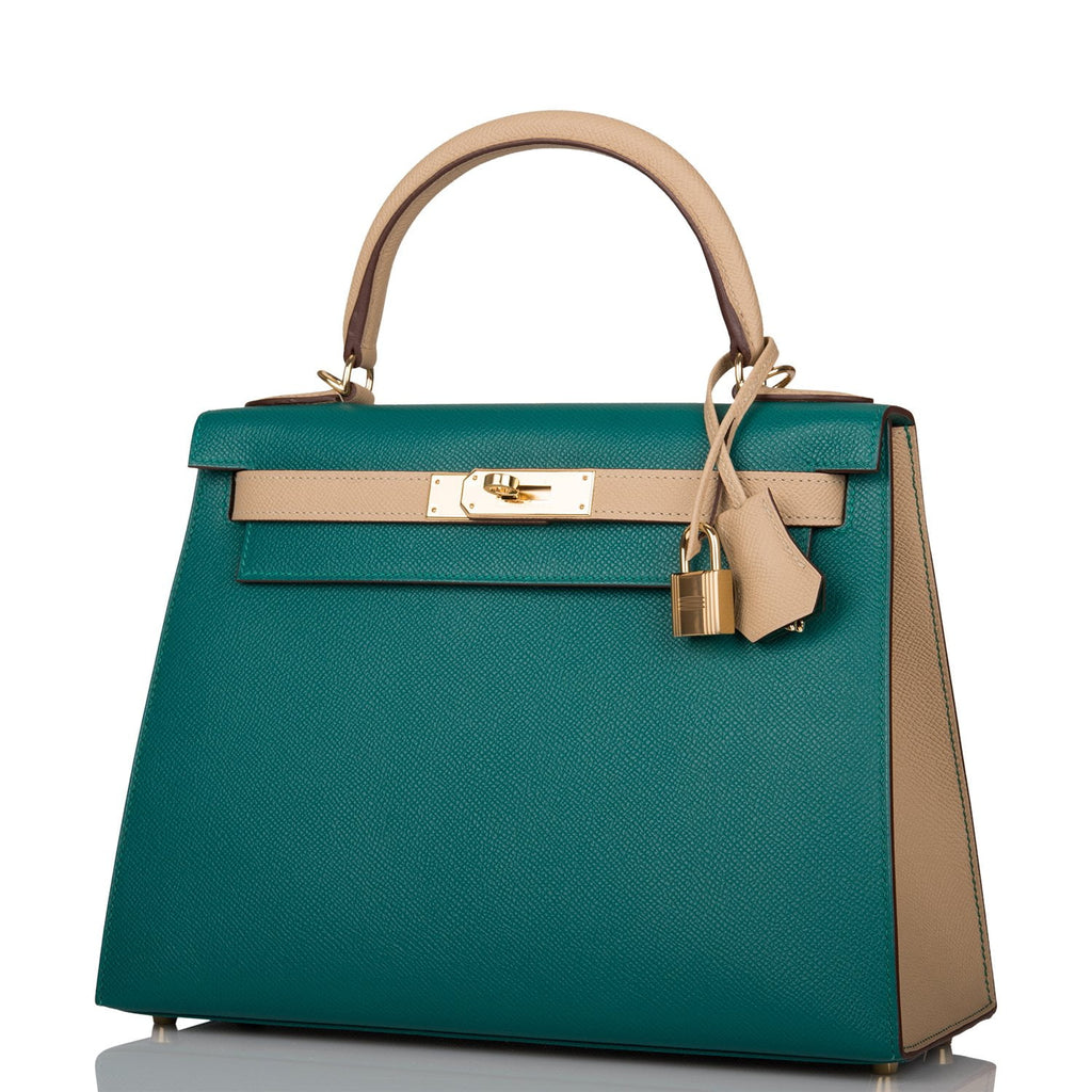 Hermes Horseshoe Stamp (HSS) Bi-Color Malachite and Trench Epsom Sellier Kelly 28cm Permabrass Hardware