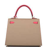 Hermes Horseshoe Stamp (HSS) Bi-Color Trench and Rose Azalee Epsom Sellier Kelly 25cm Permabrass Hardware