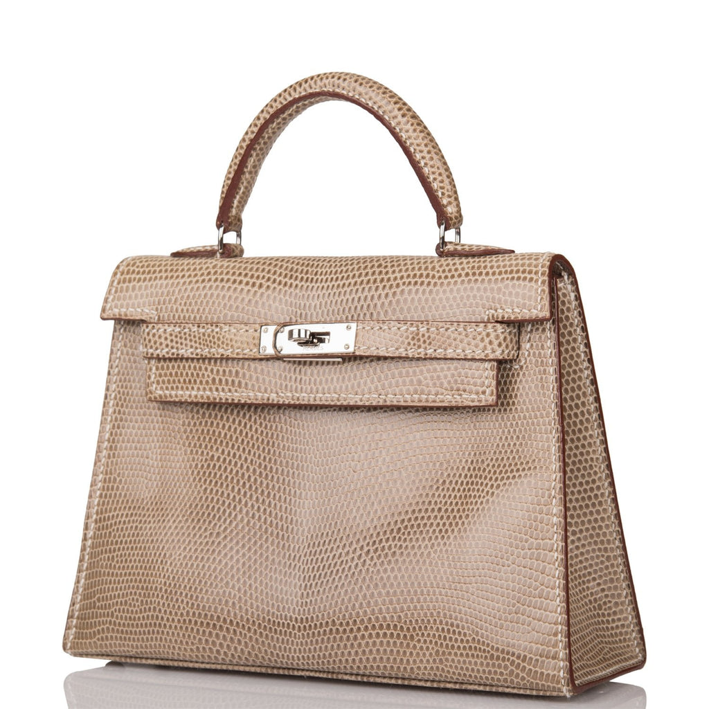 Hermes Ficelle Shiny Lizard Micro Kelly 15cm Palladium Hardware (Preloved - Mint)