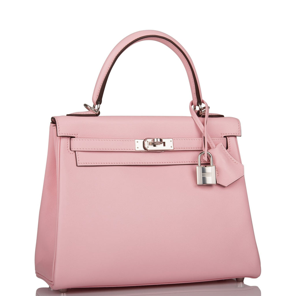 Hermes Rose Sakura Swift Retourne Kelly 25cm Palladium Hardware