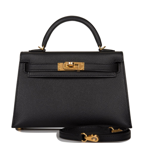 Hermes Black Epsom Sellier Kelly 20cm Gold Hardware