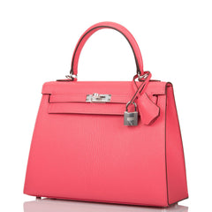 Hermes Rose Lipstick Chevre Sellier Kelly 25cm Palladium Hardware
