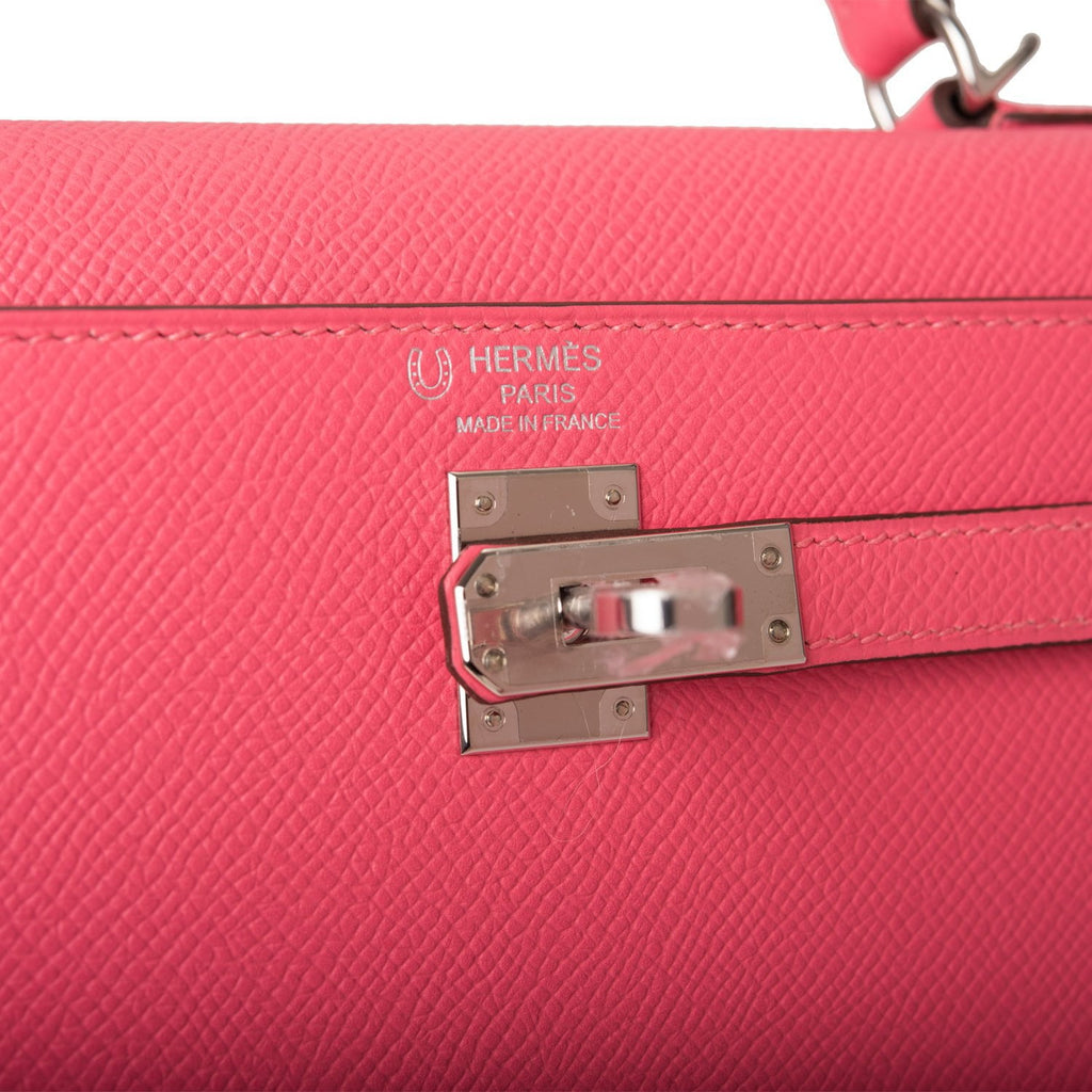 Hermes Horseshoe Stamp (HSS) Rose Azalee Verso Epsom Sellier Kelly 25cm Palladium Hardware