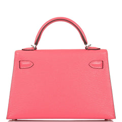 Hermes Rose Lipstick Chevre Sellier Kelly 20cm Palladium Hardware