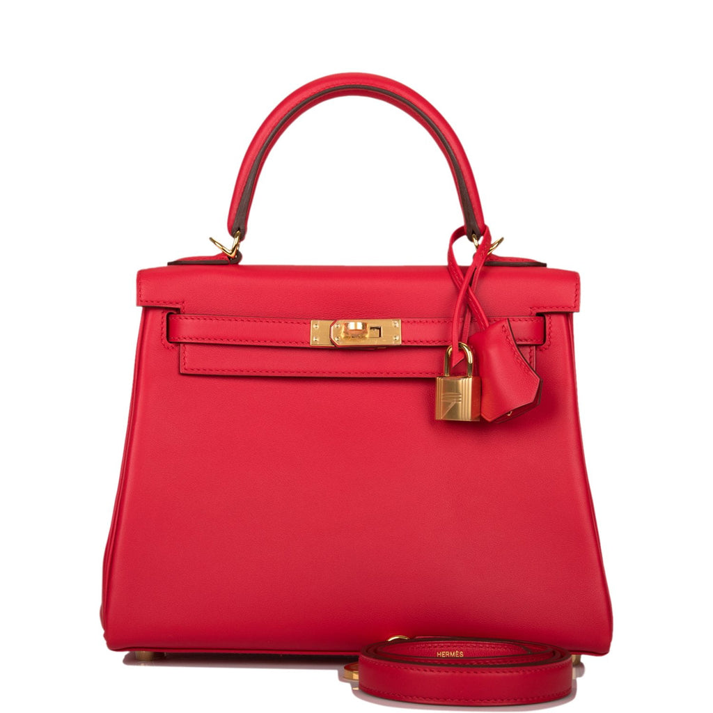 Hermes Rouge de Coeur Swift Retourne Kelly 25cm Gold Hardware