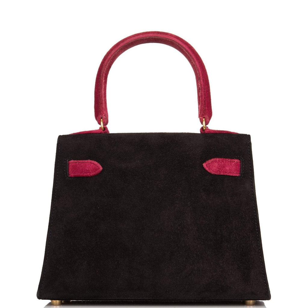 Hermes Vintage Black and Framboise Doblis Mini Kelly 20cm Gold Hardware (Preloved - Excellent)