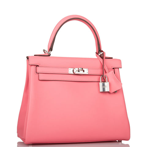 Hermes Rose D'ete Swift Retourne Kelly 25cm Palladium Hardware