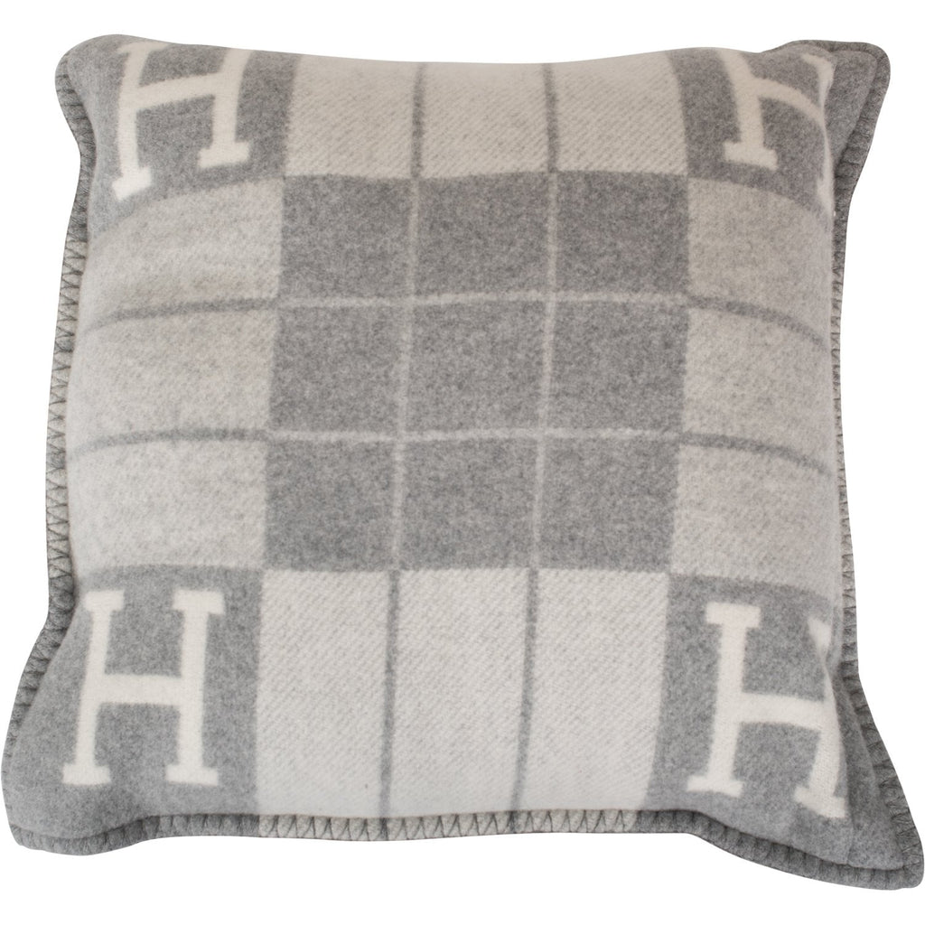 "Hermes ""Avalon III"" Light Grey and Ecru Signature H Cushion PM Set of Two"