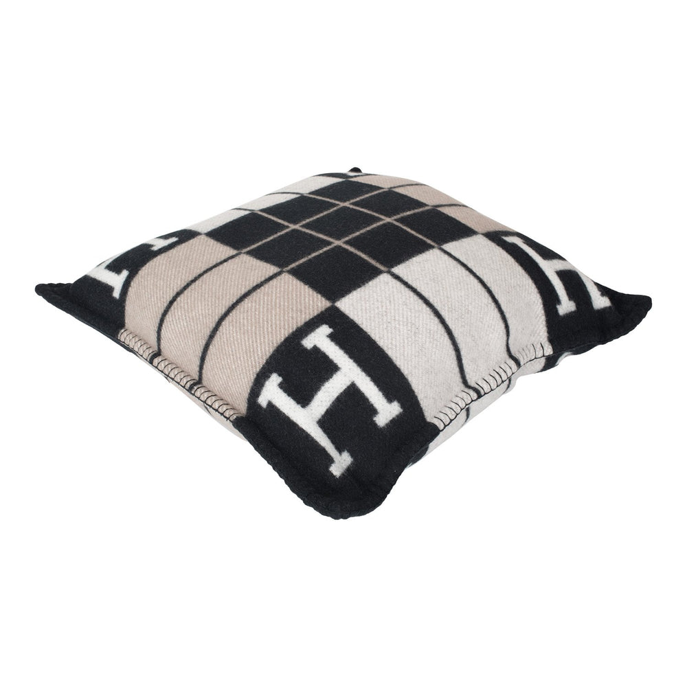 "Hermes ""Avalon III"" Ecru and Black Pillow Small Size"