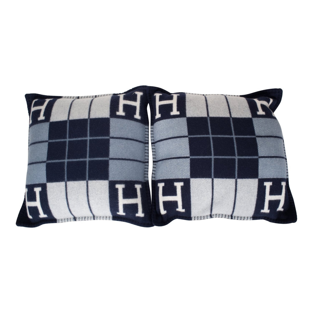 "Hermes ""Avalon III"" Ecru and Caban Signature H Cushion PM (Set of Two)"