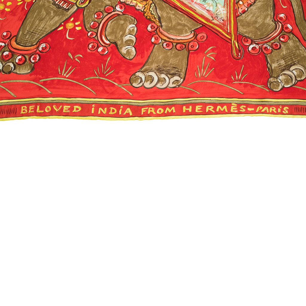 "Hermes ""Beloved India"" Silk Twill Scarf 90cm"