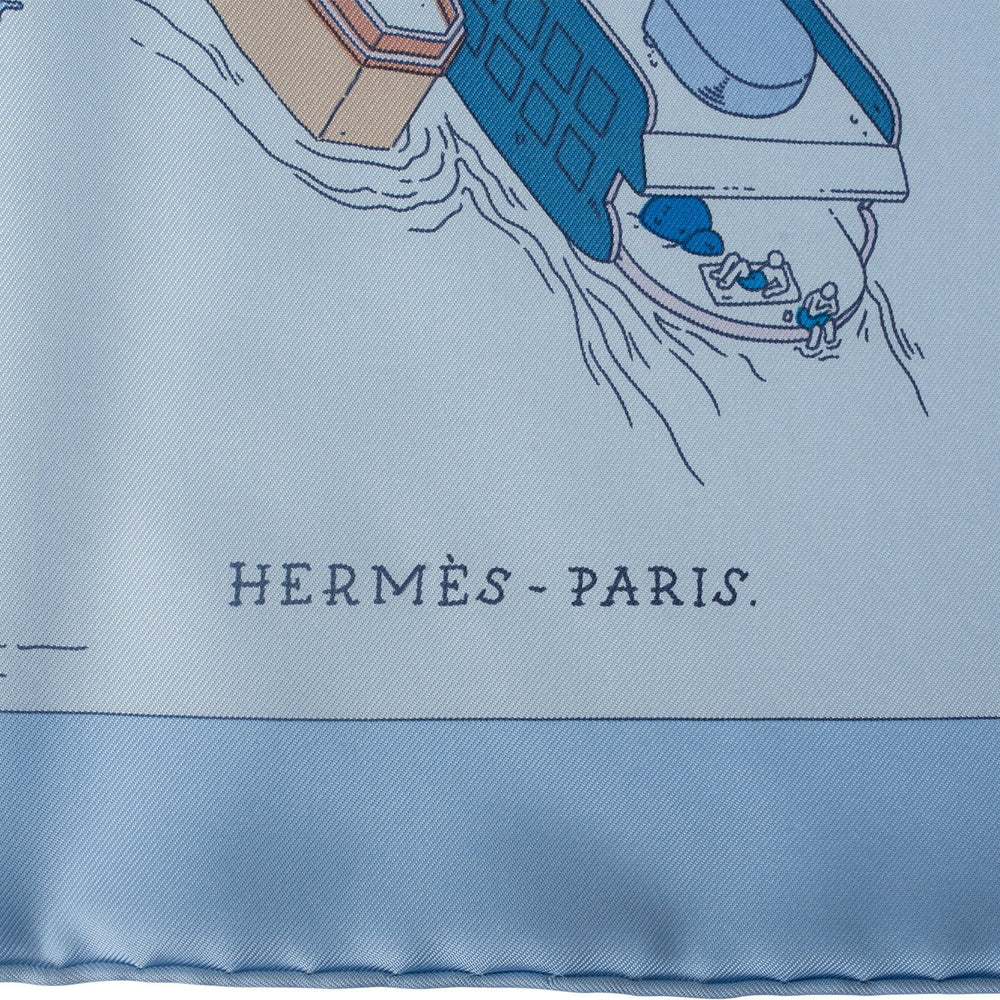"Hermes ""The Battery New York"" Silk Twill Scarf 90cm"