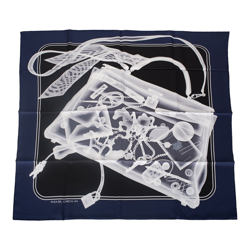 "Hermes ""Please, Check In"" Silk Twill Scarf 90cm"