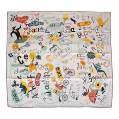 "Hermes ""Les Confessions"" Silk Twill Scarf 90cm"