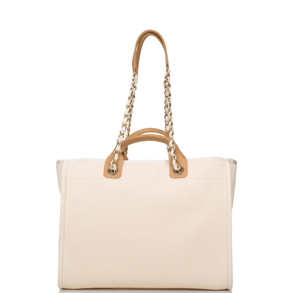 Chanel Ecru Canvas Imitation Pearl Large Deauville Shopping Bag