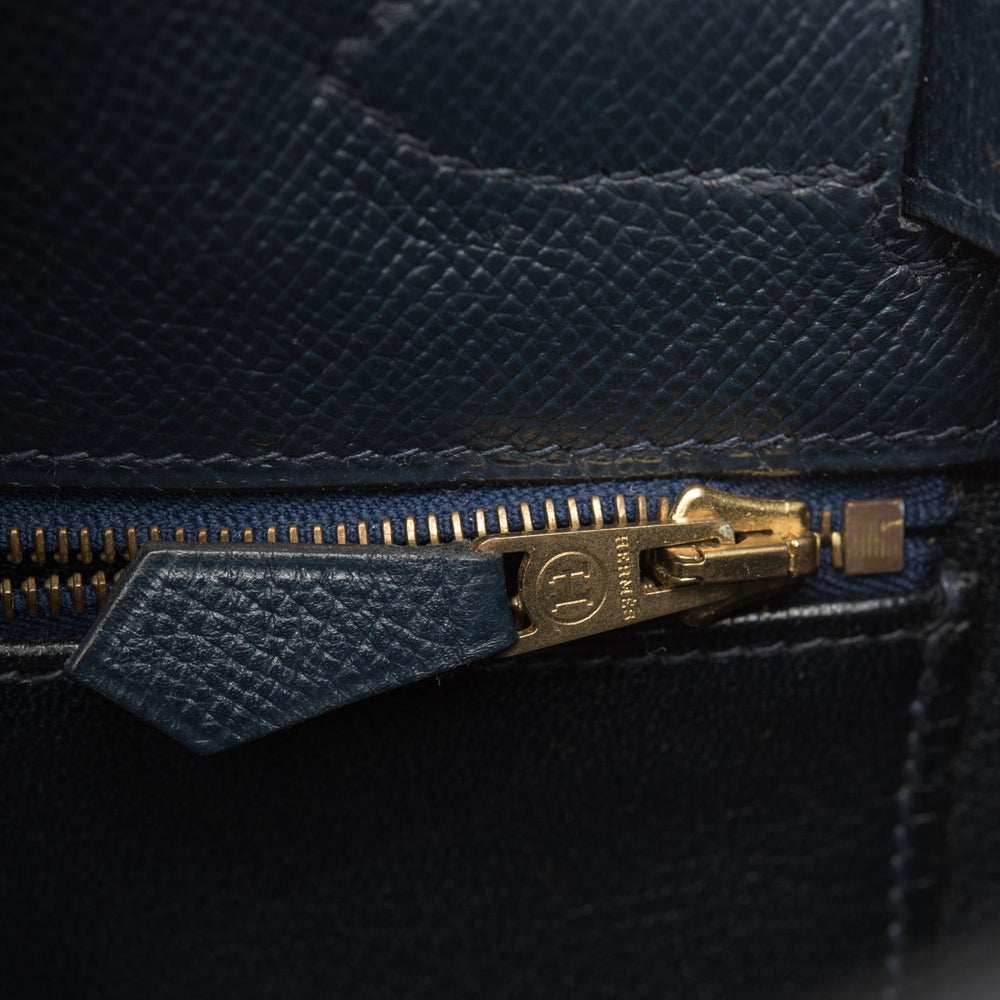 Hermes Vintage Toile and Navy Blue Courchevel Sellier Kelly 32cm Gold Hardware (Preloved - Excellent)