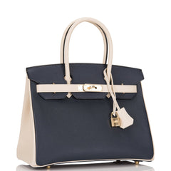 Hermes HSS Bi-Color Indigo and Craie Epsom Birkin 30cm Permabrass Hardware