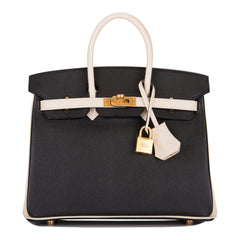 Hermes Horseshoe Stamp (HSS) Bi-Color Black and Craie Epsom Birkin 25cm Brushed Gold Hardware