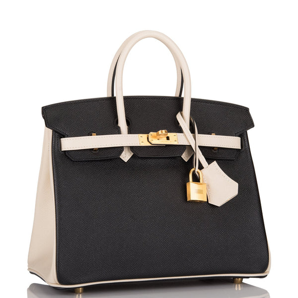 Hermes HSS Bi-Color Black and Craie Epsom Birkin 25cm Brushed Gold Hardware