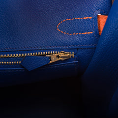 Hermes HSS Bi-Color Orange Poppy and Blue Electric Clemence Birkin 30cm