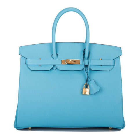 Hermes Blue Iris Ostrich Sellier Kelly 28cm Gold Hardware
