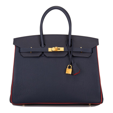 Hermes HSS SO Bi-Color Bleu Nuit and Vermillion Togo Birkin 35cm Brushed Gold Hardware