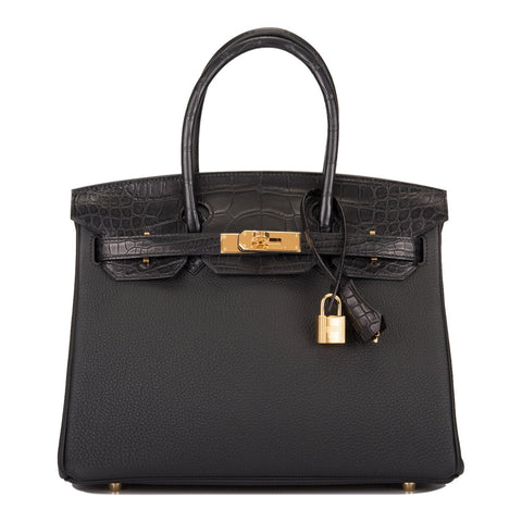 Hermes Black Matte Alligator/Togo Birkin Touch 30cm Gold Hardware