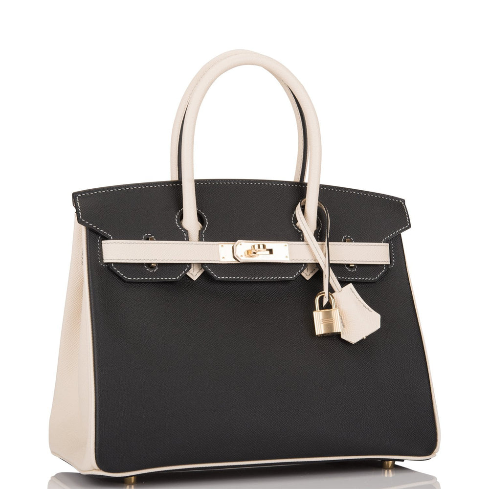 Hermes HSS Bi-Color Black and Craie Epsom Birkin 30cm Permabrass Hardware