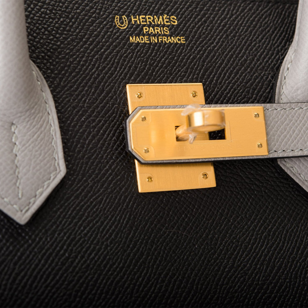 Hermes HSS Bi-Color Black and Gris Mouette Epsom Birkin 35cm Brushed Gold Hardware