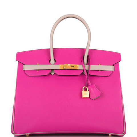 Hermes HSS Bi-Color Rose Pourpre and Gris Asphalte Epsom Birkin 35cm Brushed Gold Hardware