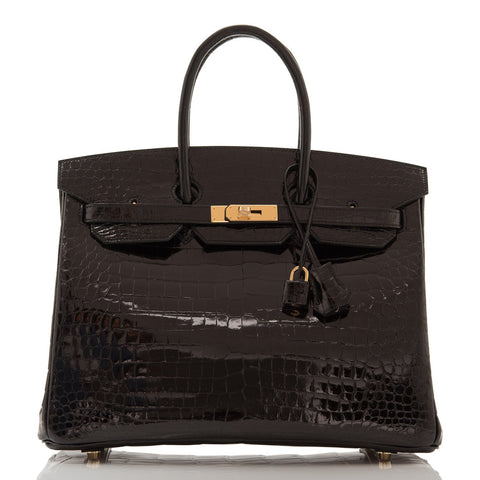 Hermes Black Shiny Porosus Crocodile Birkin 35cm Gold Hardware