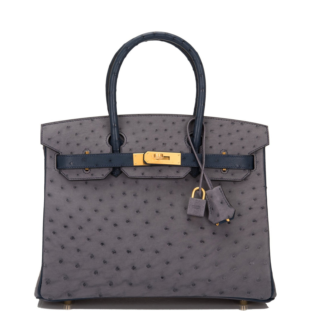 Hermes HSS Bi-color Gris Agate and Blue Iris Ostrich Birkin 30cm Brushed Gold Hardware