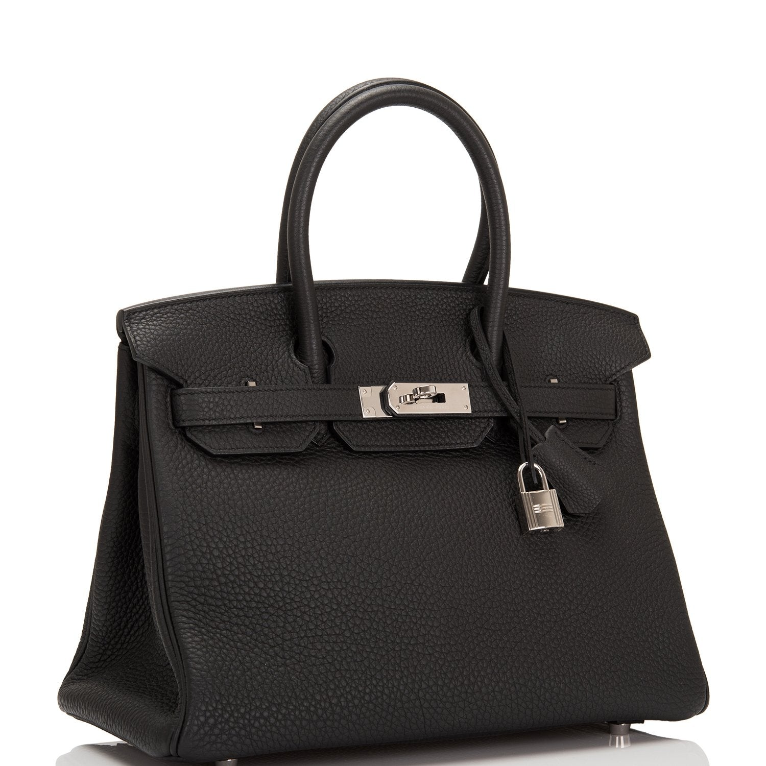 Hermes Black Clemence Birkin 30cm Palladium Hardware (Preloved - Excellent)