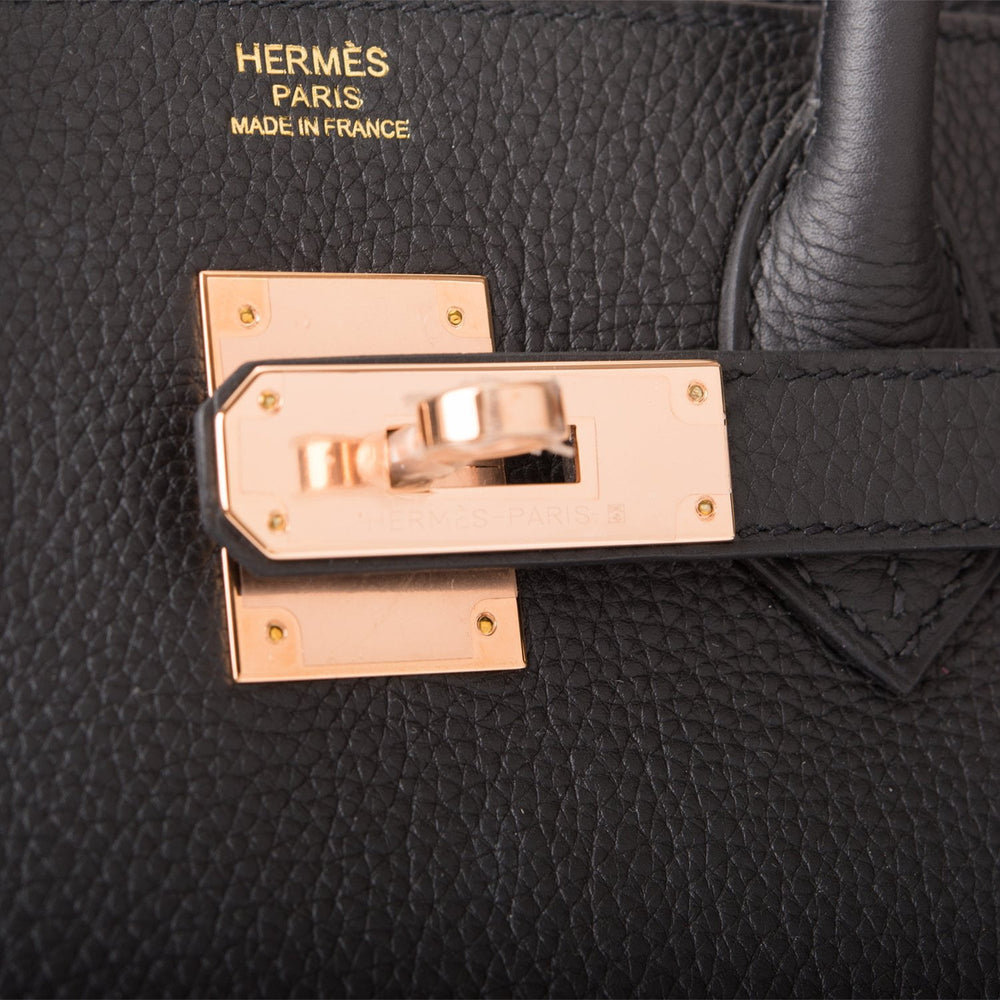 Hermes Black Togo Birkin 30cm Rose Gold Hardware