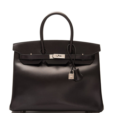 Hermes Black Box Birkin 35cm Guilloche Palladium Hardware