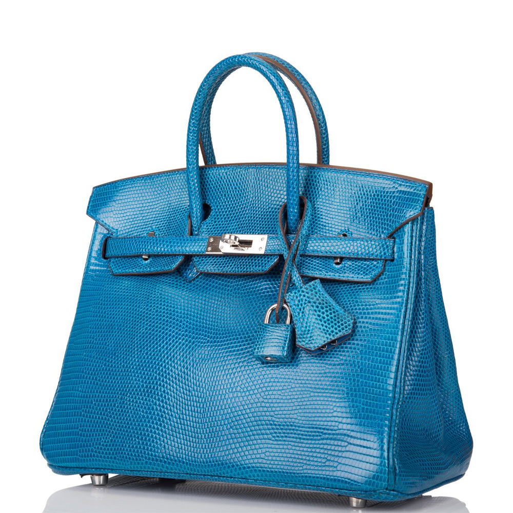 Hermes Petrole Niloticus Lizard Birkin 25cm Palladium Hardware (Preloved - Excellent)