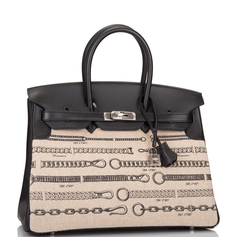 Hermes Dechainee Toile de Camp and Black Swift Birkin 35cm Palladium Hardware