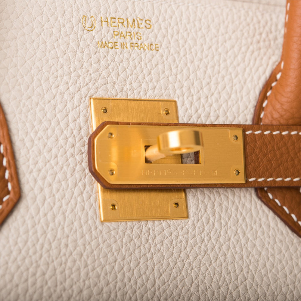 Hermes HSS Bi-Color Craie and Gold Togo Birkin 35cm Brushed Gold Hardware