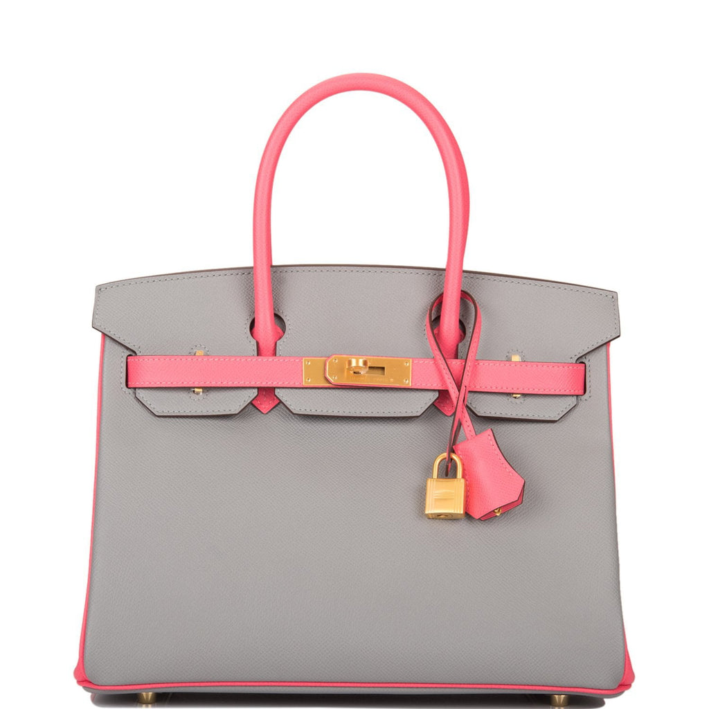Hermes HSS Bi-Color Gris Mouette and Rose Azalee Epsom Birkin 30cm Brushed Gold Hardware