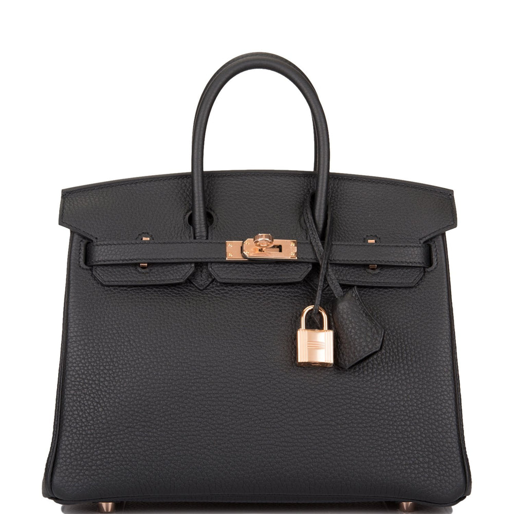 Hermes Black Togo Birkin 25cm Rose Gold Hardware
