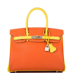 Hermes HSS Bi-Color Feu and Lime Epsom Birkin 30cm Brushed Palladium Hardware