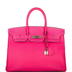 Hermes Rose Tyrien Epsom Candy Birkin 35cm Palladium Hardware (Preloved - Excellent)