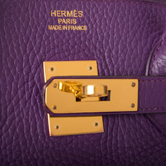 Hermes Ultraviolet Clemence Birkin 35cm Gold Hardware (Preloved - Excellent)