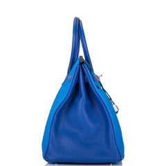 Hermes HSS Bi-Color Bleu Electrique and Bleu Hydra Clemence Birkin 35cm Brushed Palladium Hardware