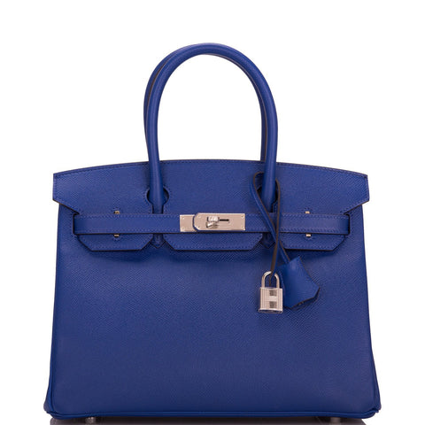 Hermes Blue Electric Epsom Birkin 30cm Palladium Hardware