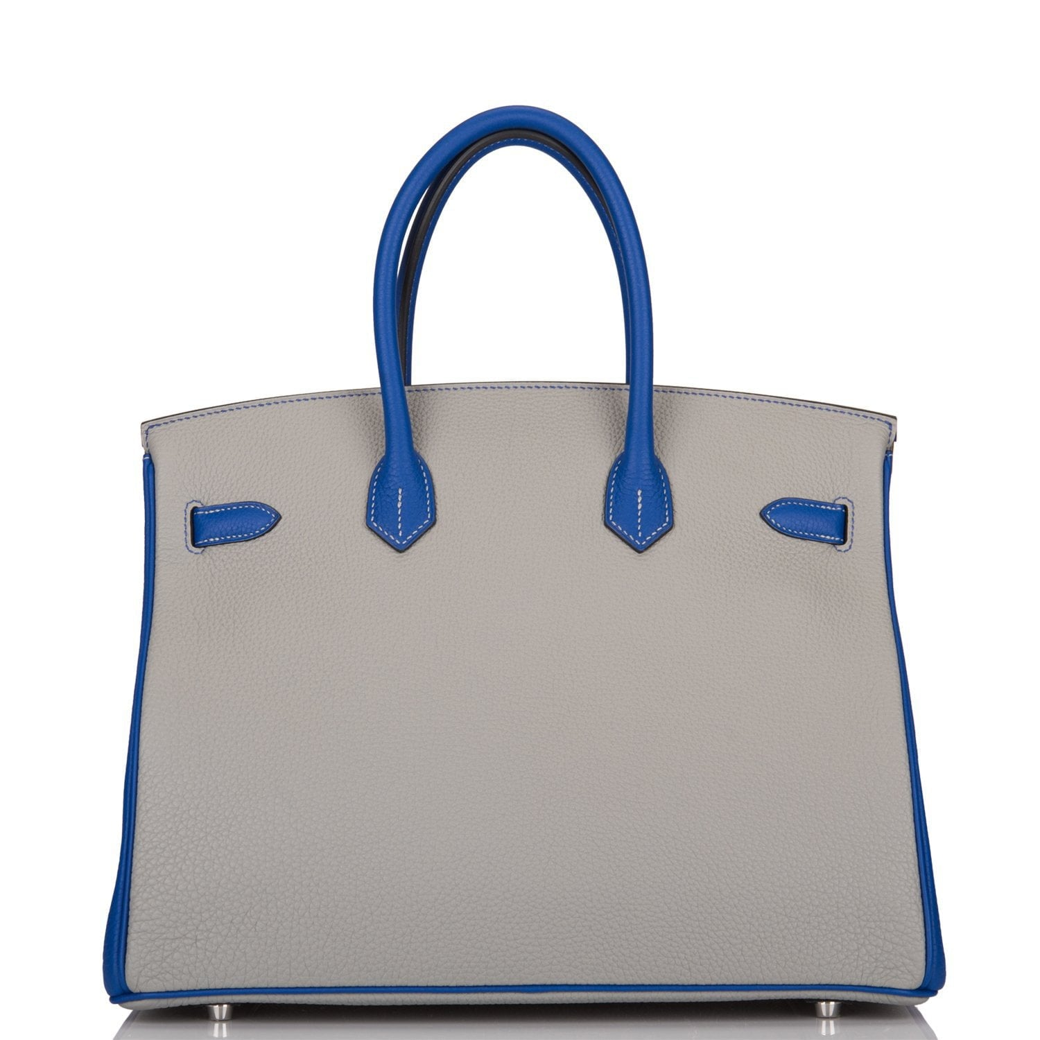 Hermes HSS SO Bi-Color Blue Electric and Gris Mouette Togo Birkin 35cm Brushed Palladium Hardware